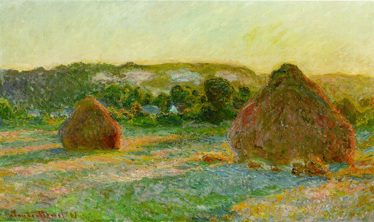 Wheatstacks (End of Summer), 1890-91 (190 Kb); Oil on canvas, 60 x 100 cm (23 5/8 x 39 3/8 in); The Art Institute of Chicago